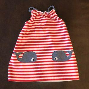 MudPie Whale Striped Dress Size 5T